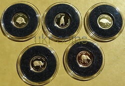 2006 Palau 5-coin Gold .99999 Proof Set 1 Small Five Africa Fauna Wwf Wildlife