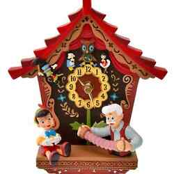 Disney Store Japan Pinocchio Wood Wall Clock Story Collection Revival Antique