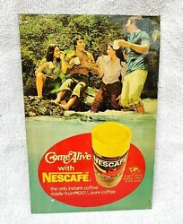 Vintage Rare Advertising Come Alive With Nescafe Instant Coffee Tin Sign Board