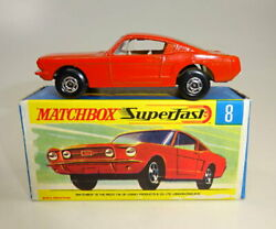 Matchbox Superfast No. 08a Ford Mustang Orange-red Body White Interior M/b