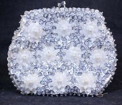 Womens Vintage Silver Beaded Sequin Small Evening Bag Clutch $22.00
