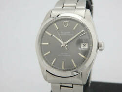 1970and039s Vintage Tudor Oyster Date Ref. 9050/01 Gray Overhauled 33.5mm