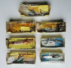 Lot Of 7 Vintage Fred Arbogast Hawaiian Wigglers With Weedguard And Trailer Hook