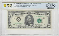Pair Of 5 1969 B Fed Reserve Star Notes San Francisco Pcgs Ch Unc 63 Ppq