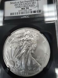 2013s Ms70 Perfect Silver Eagle See Pictures, Ngc Black Retro, Free Shipping