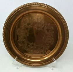 Vtg Coppercraft Guild Etched Embossed Mirrored Copper Serving Plate Tray Hr21