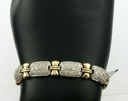 Ladies Pave Diamonds And Bows Tennis Bracelet In Solid 10ky Gold 7, 20.3grams
