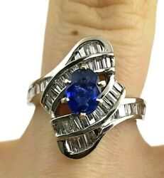 .89ct Ceylon Blue Sapphire And .50ctw Diamond Cocktail Dinner Ring 14kw Gold New