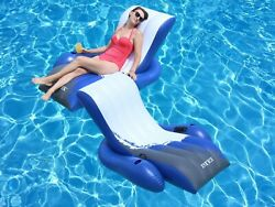 NEW Intex Floating Recliner Inflatable Swimming Pool Lounge Raft w 2 Cup Holders
