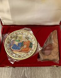Antique Handicrafted Marble In Gold Inlay Round Serving Plate With Stones And Case
