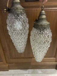 2 Vintage Mid Century Glass Hanging Light Fixture Double Pineapple Swag Lamp