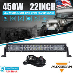 Auxbeam 450w 22inch Led Light Bar Dual-row Combo Work Driving Ute Truck Suv 5d