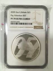 2020 United Kingdom Silver Coin Pay Attention 007 James Bond Ngc Pf 70 Ultra