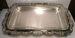 Vtg Epca Poole Silver 408 Silverplate Footed Serving Tray 18 X 12.25 And Pyrex