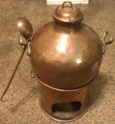 Antique Traditional Egyptian Copper Cooking Pot W/lid And Burner Nice