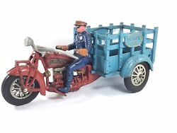 Large Hubley Indian Vintage Cast Iron Traffic Car Motorcycle All Original