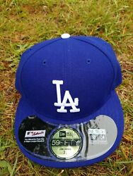 New Era 59fifty Royal Mlb Los Angeles Dodgers Authentic Collection On Field