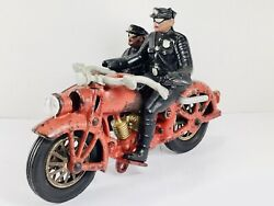 1930's Cast Iron Hubley Harley Motorcycle And Sidecar - Rare Headlight Version