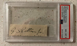 General George Patton Full Signature Hand Signed Wwii Cut Autograph Auto Psa 8