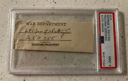 General George Patton Hand Signed Wwii Cut Autograph Auto Psa Mint 9