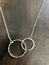 Sterling Silver Two Toned Double Hoop Necklace