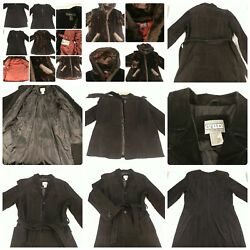 Lot 3 Size Large Vintage Coats Long Suede Leather Trenchcoat Hooded Faux Fur
