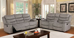 2pc Sofa Set Light Grey Fabric Reclining Sofa Loveseat Console Padded Couch Seat