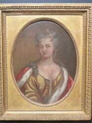 Royal Portrait Early 18th Century Old Master Oil Queen Anne B.1665