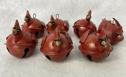 7 Tin Ornaments Jingle Bell Red Bird And Chickadee. 3 Inches. Set Of 7