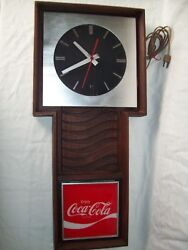 Vintage Coca'cola Wall Clock Electric Movement Working Condition