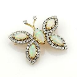 Vintage 7.20ct Diamonds And Opal 18k Two Tone Gold Butterfly Pin Brooch