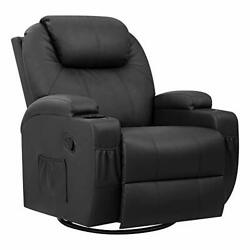 Pu Leather Chair With Massage Function Adjustable Home Theater Single Black