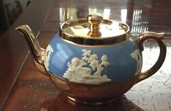 Rare Pate Sur Pate Blue Jeweled Gold Gibson's England Teapot Staffordshire Htf