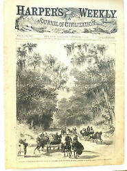 5 Original Full Page Woodcut Illustrations From 1866 Harpers Weekly Newspapers.