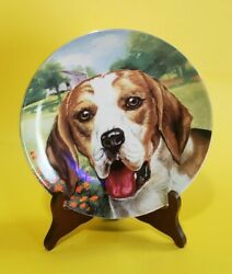 🐶SUPER CUTE🐶 Vtg 8quot; BEAGLE DOG Puppy Decorative CERAMIC PLATE with WOOD STAND