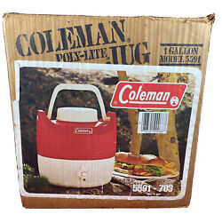 Vintage Coleman Poly-lite Jug 1 Gallon Model 5591-703 Original Box Cup And Papers