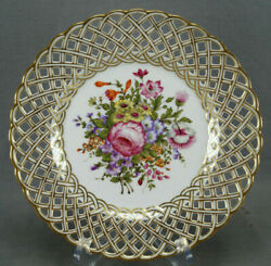 Eugene Clauss Hand Painted Pink Rose Floral And Gold Reticulated Plate 1868-1887 C