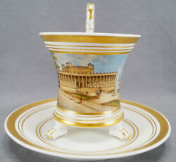 Kpm Berlin Hand Painted Wwi Altes Museum And Gold Snake Handle Empire Form Cup