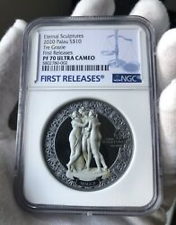 Ngc Pf70 Fr The Three Graces Silver Coin 2oz Palau Eternal Sculpture With Gift