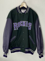 Delong Colorado Rockies Wool Blend Leather Vintage Jacket Mens Size 3xl Usa Made