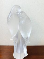Lalique Two Parakeets Parrot Bird Signed Made In France From Gumps In Box
