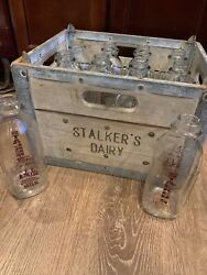 Vintage Stalkers Dairy Wood And Steel Milk Crate And 12 Marked Bottles Ravena Ny