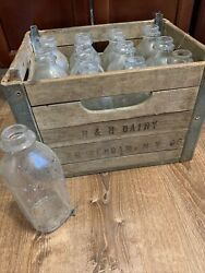 Vintage Handh Dairy Wood And Steel Milk Crate And 12 Unmarked Bottles Amsterdam Ny