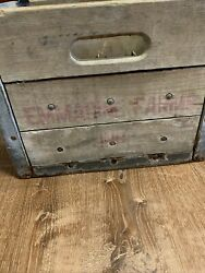 Vintage Emmadine Farms Dairy Wood And Steel Milk Crate Beacon Ny