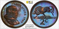 1969 South Africa English 2 Cents Pcgs Pr66 Bn Toned Proof Only 2 Graded Higher