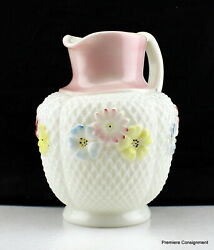 Antique Cosmos Milk Glass Enamel Flowers Eapg Consolidated Lamp Co. Pitcher