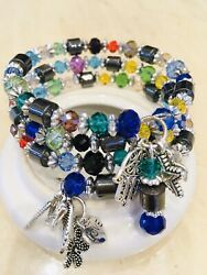 Isywaka Rondelle Austria Faceted Crystal Glass Beads Memory Wire Bracelet Charms