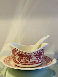 Vintage Royal Memory Lane Red Ironstone Gravy Boat W/under Plate And Ladle