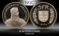 1984 Switzerland 5 Francs Ngc Pf 69 Ultra Cameo Finest Known