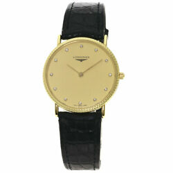 Free Shipping Pre-owned Longines Round Face Watch Champagne Gold Dial Quartz
